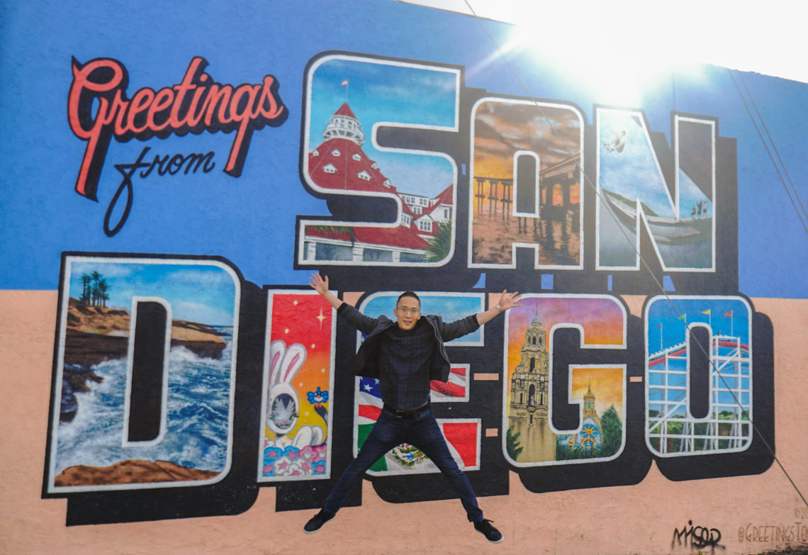 Kevin at the Greetings San Diego mural in North Park